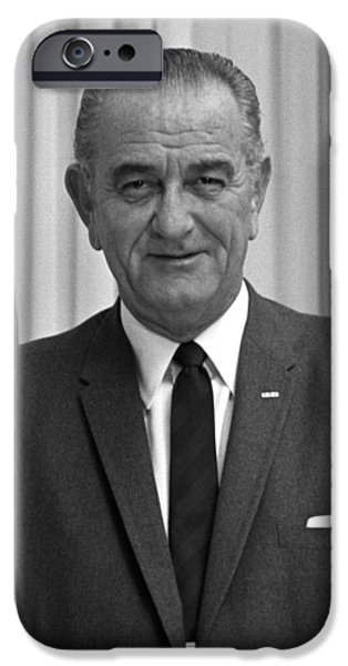 Society iPhone Cases - President Lyndon Johnson iPhone Case by War Is Hell Store
