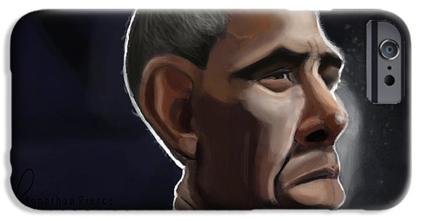 Obama iPhone Cases - President Obama Caricature iPhone Case by Jonathan Pierce