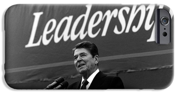 Ronald iPhone Cases - President Ronald Reagan Leadership Photo iPhone Case by War Is Hell Store