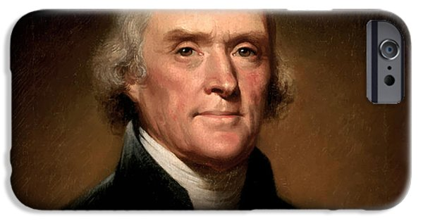 Portrait Paintings iPhone Cases - President Thomas Jefferson  iPhone Case by War Is Hell Store