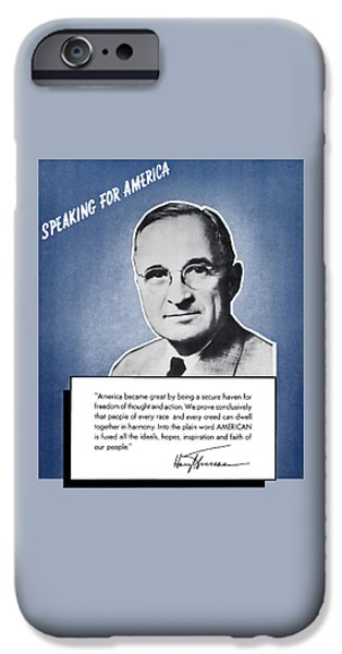 Ems iPhone Cases - President Truman Speaking For America iPhone Case by War Is Hell Store