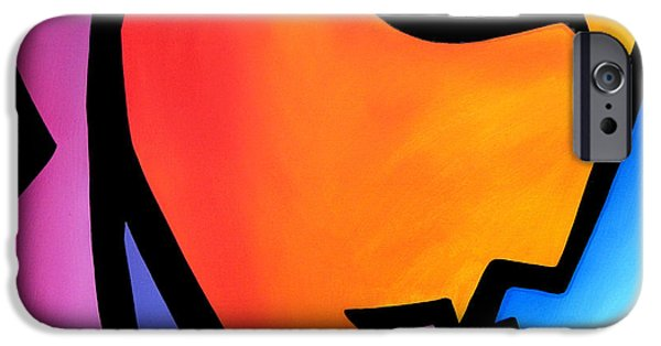 Abstract Pop Drawings iPhone Cases - Pretending - Original Pop Art iPhone Case by Tom Fedro - Fidostudio
