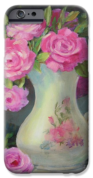 Old Pitcher Paintings iPhone Cases - Pretty and Pink iPhone Case by Sue Cervenka