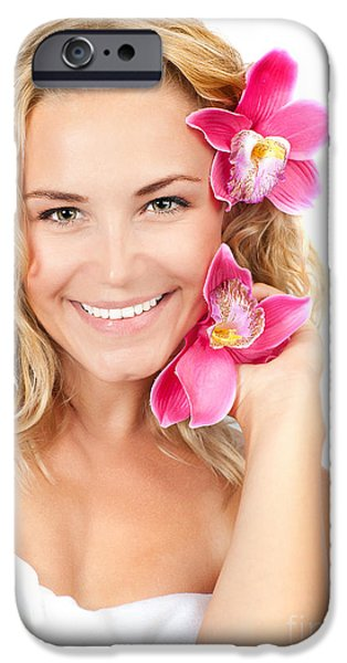 Pretty girl with pink flowers iPhone Case by Anna Omelchenko
