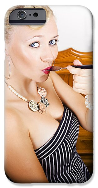 Youthful iPhone Cases - Pretty Retro Girl Eating Inside Old Fashion Diner iPhone Case by Ryan Jorgensen