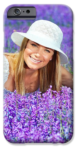Pretty woman on lavender field iPhone Case by Anna Omelchenko