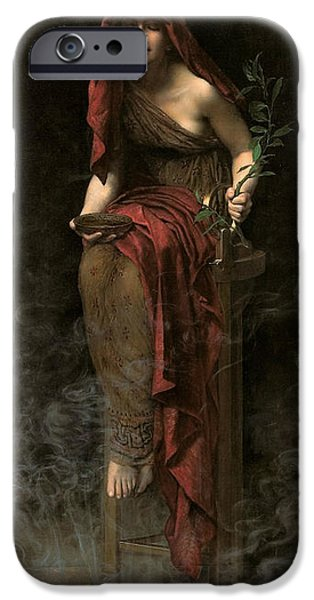 Oracle iPhone Cases - Priestess of Delphi iPhone Case by John Collier