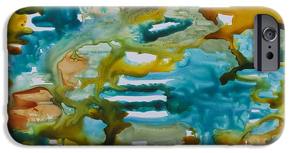 Blue Abstracts iPhone Cases - Primordial Seas iPhone Case by Julie Myers