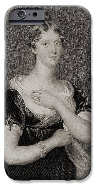 Charlotte Drawings iPhone Cases - Princess Charlotte Caroline iPhone Case by Vintage Design Pics