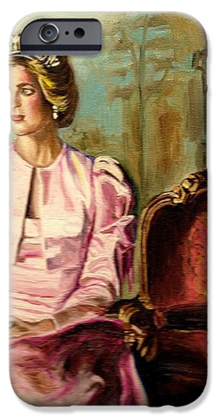 Elton John Paintings iPhone Cases - Princess Diana The Peoples Princess iPhone Case by Carole Spandau