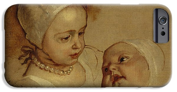 Princess Anne iPhone Cases - Princess Elizabeth and Princess Anne Daughters of Charles I iPhone Case by Anthony van Dyck