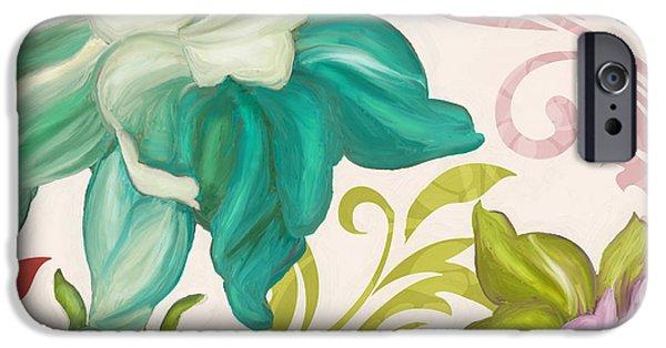 Art Nouveau Flower iPhone Cases - Prism Poetry Art Nouveau Pattern iPhone Case by Mindy Sommers
