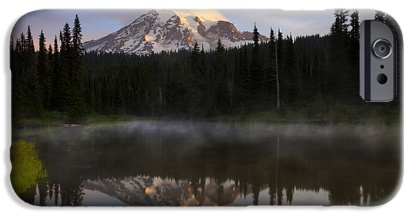 Mt Rainier iPhone Cases - Pristine Reflections iPhone Case by Mike  Dawson