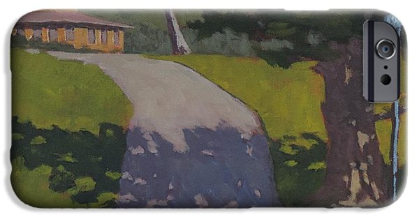 Maine Roads Paintings iPhone Cases - Private Road iPhone Case by Bill Tomsa