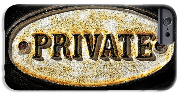 Private iPhone Cases - Private Warning Embossed Sign Plaque on Front Door iPhone Case by Olivier Le Queinec