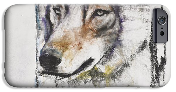 Animals Drawings iPhone Cases - Processo Al Lupo iPhone Case by Mark Adlington