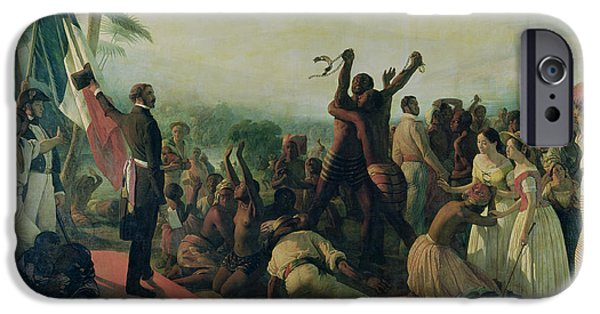 Liberty Paintings iPhone Cases - Proclamation of the Abolition of Slavery in the French Colonies iPhone Case by Francois Auguste Biard
