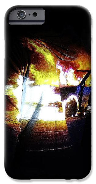 Projection - Body - Car Fire #1 iPhone Case by Conor OBrien
