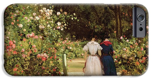 Garden Scene iPhone Cases - Promenade iPhone Case by Constant-Emile Troyon