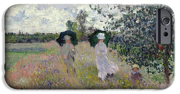 Field iPhone Cases - Promenade near Argenteuil iPhone Case by Claude Monet