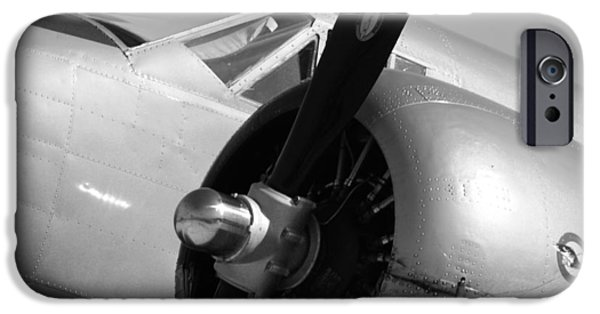 Machinery iPhone Cases - Propeller of an Airplane in Black and White iPhone Case by Kelly Hazel