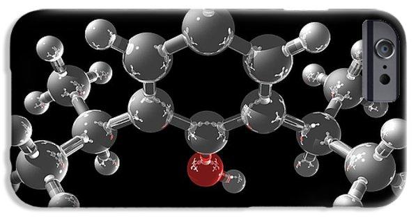 Atom Photographs iPhone Cases - Propofol Molecule iPhone Case by Laguna Design