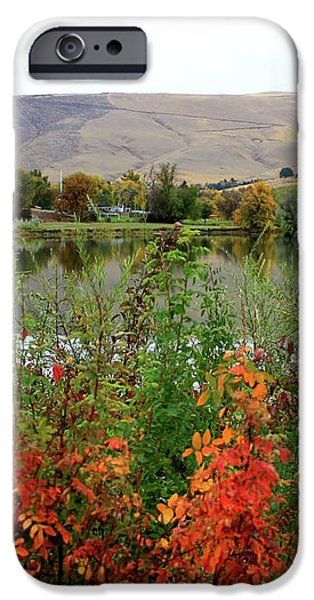 Prosser Autumn River with Hills iPhone Case by Carol Groenen