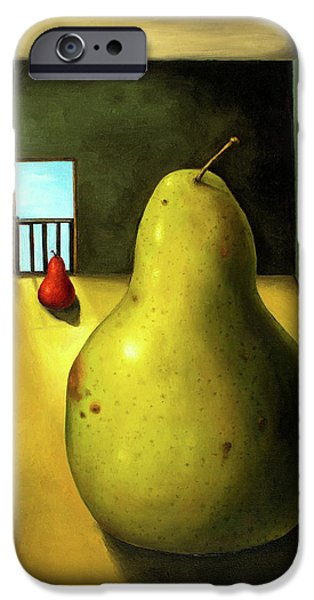 Pears iPhone Cases - Protecting Baby 8 The Safety Gate iPhone Case by Leah Saulnier The Painting Maniac