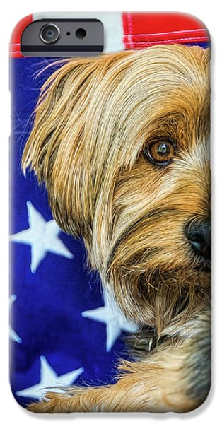 Puppies iPhone Cases - Proud to be an American iPhone Case by Maria Coulson
