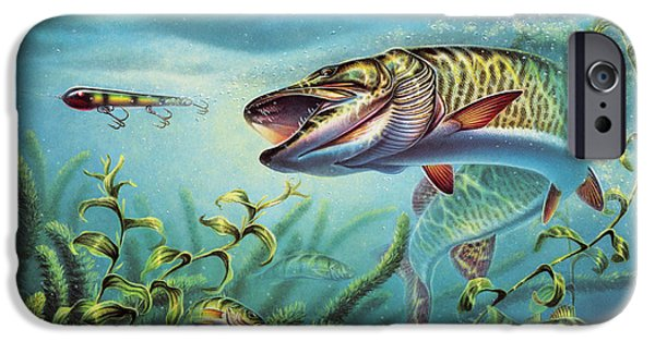 Musky Paintings iPhone Cases - Provoked Musky iPhone Case by Jon Q Wright