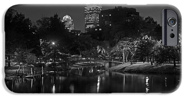 Boston Ma iPhone Cases - Prudential over the Charles River Black and White iPhone Case by Toby McGuire