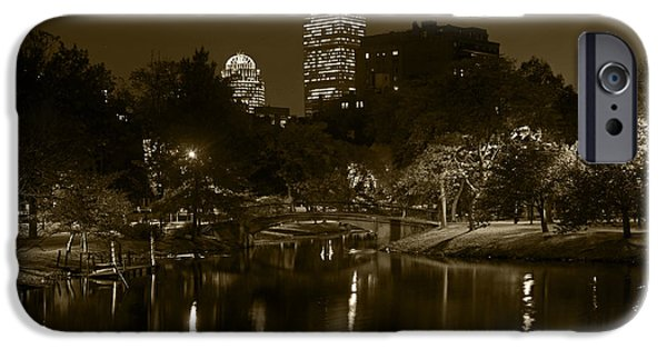 Boston Ma iPhone Cases - Prudential over the Charles River Sepia iPhone Case by Toby McGuire