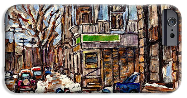 Hockey Paintings iPhone Cases - Psc Winter Street 57 Bus Stop Hockey Fun Connies Pizza Original Canadian Painting Carole Spandau iPhone Case by Carole Spandau