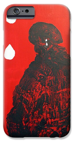 Law Enforcement Paintings iPhone Cases - PTSD Silent Wounds iPhone Case by Elizabeth Kilbride