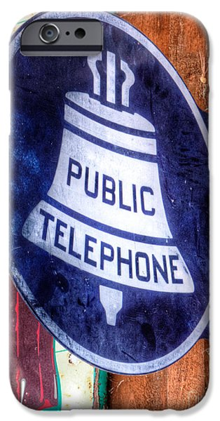 Technology iPhone Cases - Public Telephone Sign iPhone Case by Jerry Fornarotto