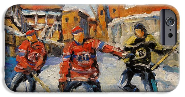 Canada Sports Paintings iPhone Cases - Puck Control Hockey Kids created by Prankearts iPhone Case by Richard T Pranke