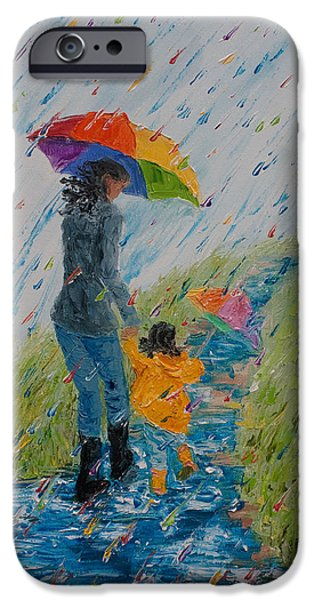 Rainy Day iPhone Cases - Puddle Jumping No. 8 iPhone Case by Cynthia Christine