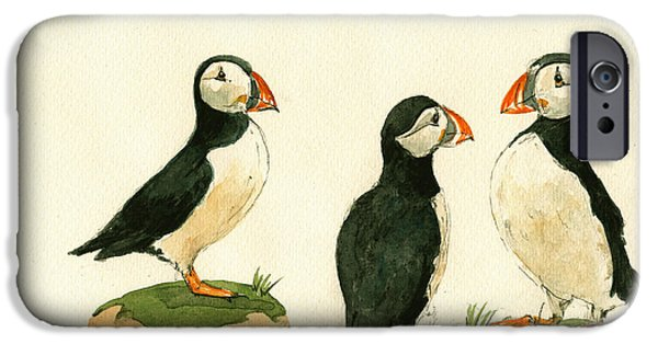 Sea Birds Paintings iPhone Cases - Puffins iPhone Case by Juan  Bosco