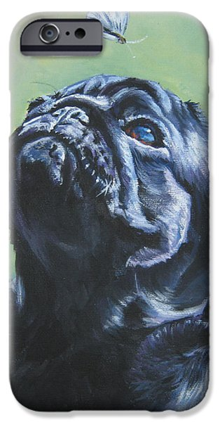 Pug black  iPhone Case by L A Shepard