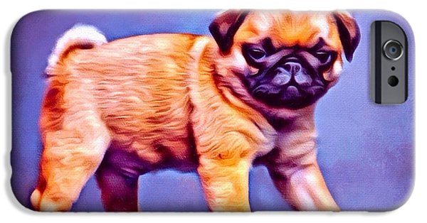 Puppies Digital iPhone Cases - Pug Pup iPhone Case by Scott Wallace