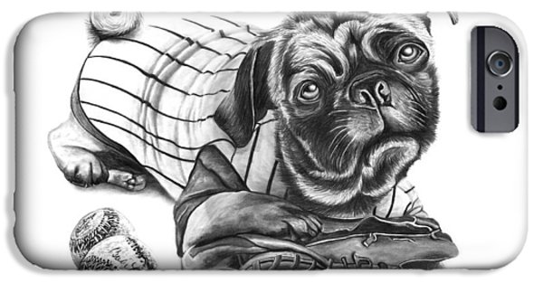 Baseball Uniform Drawings iPhone Cases - Pug Ruth  iPhone Case by Peter Piatt