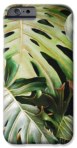 Philodendron iPhone Cases - Pulelehua iPhone Case by Sandra Blazel - Printscapes