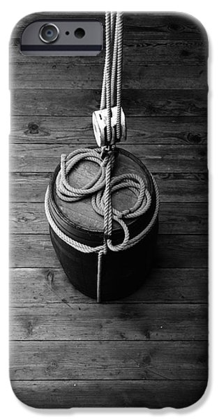 Pulley iPhone Cases - Pulley And Barrel - Black And White iPhone Case by Kreddible Trout