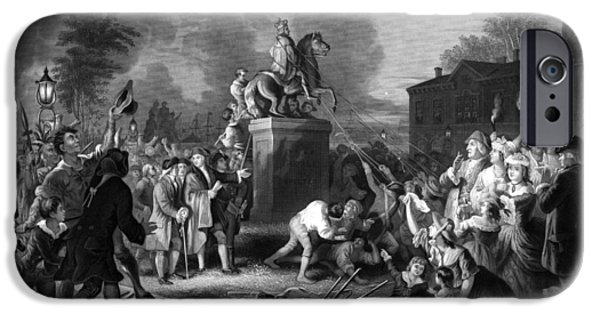 War Drawings iPhone Cases - Pulling down the statue of George III iPhone Case by War Is Hell Store