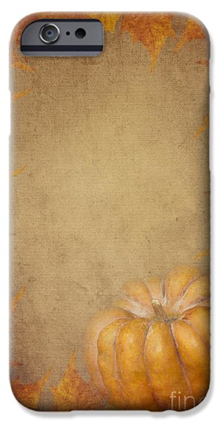 Festival Pyrography iPhone Cases - Pumpkin And Maple Leaves iPhone Case by Jelena Jovanovic