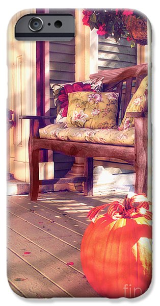 Sun Porch iPhone Cases - Pumpkin Porch iPhone Case by Mindy Sommers