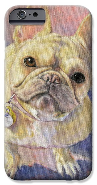 French Bulldog iPhone Cases - Pumpkin the French Bulldog iPhone Case by Tracie Thompson