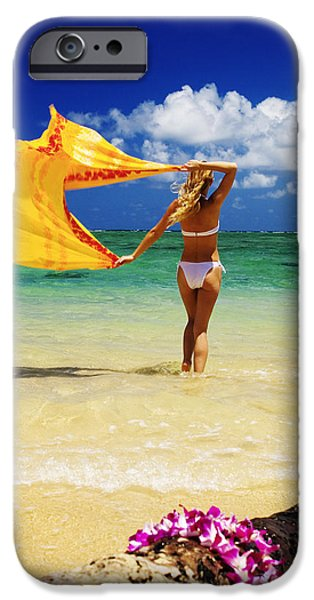 Youthful Photographs iPhone Cases - Punaluu Beach Vacation iPhone Case by Tomas del Amo - Printscapes