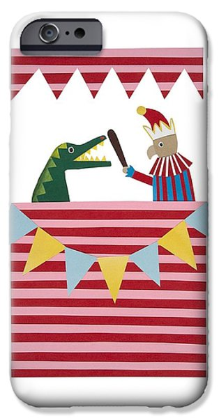 Puppets iPhone Cases - Punch and Judy iPhone Case by Isobel Barber