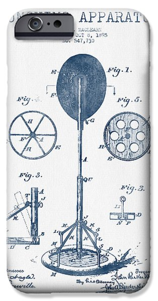 Wall Drawings iPhone Cases - Punching Apparatus Patent Drawing from 1895 -  Blue Ink iPhone Case by Aged Pixel